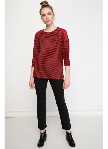 DeFacto Puantiye Desenli Omzu Bağlama Detaylı Uzun Kollu T-shirt Kırmızı